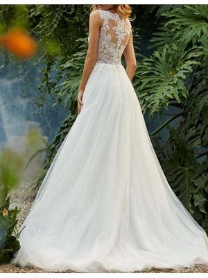 Sleeveless Wedding Dress Floral Lace Aline Tulle Bridal Dress_2