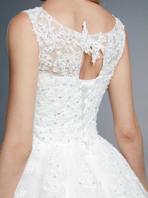Robes de mariée élégantes sans manches col rond blanc Aline robe de mariée en dentelle florale_11
