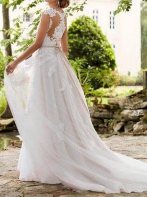 Vestidos de novia con mangas casquillo Aline con cinturón Vestido de novia de jardín_2