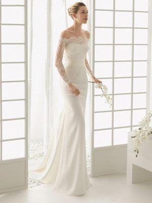 Elegantes Off Shoulder Spitze Meerjungfrau Brautkleid mit langen Ärmeln Schlankes Brautkleid_2