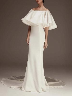 Elegantes geschwollenes schulterfreies Meerjungfrau-Hochzeitsempfangskleid_1