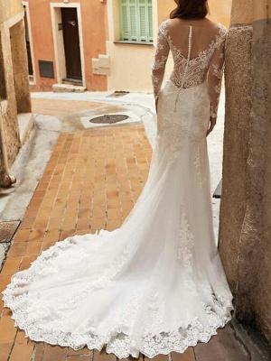 Elegant Long Sleeves Tulle Lace Mermaid Bridal Dress with Sweep/Trumpt Train_3
