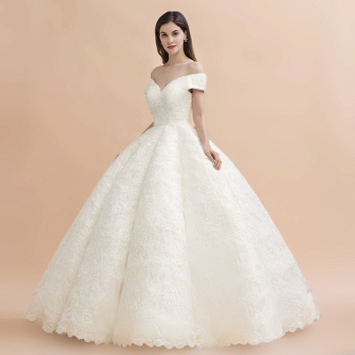 Ivory Off Shoulder Lace Appliques A-line Ball Gown Tulle Wedding Dress_6