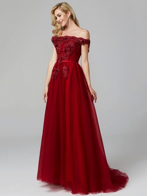 Off Shoulder 3D Floral  Tulle Aline Evening Dress Off Shoulder Party Dress_13