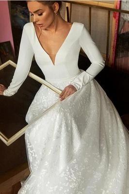 Elegant Lace Bridal A-line V-Neck Long Sleeves Wedding Dress_4