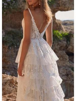Einzigartiges ärmelloses Brautkleid mit V-Ausschnitt und Rüschen_2