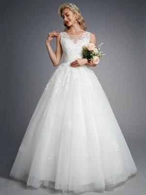 Robes de mariée élégantes sans manches col rond blanc Aline robe de mariée en dentelle florale_5