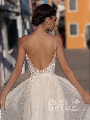Spaghetti Straps V-neck Chiffon Simple Wedding Dress_2