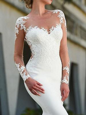 Charmantes weißes Meerjungfrau-Brautkleid mit langen Ärmeln Spitzenapplikationen Brautkleid_2