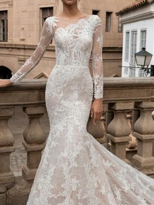 Charmantes Meerjungfrau Brautkleid mit langen Ärmeln Blumenspitze Brautkleid_3