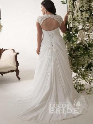 Plus Size Cap Sleeves Chiffon Lace Appliques Garden Aline Wedding Dress_2