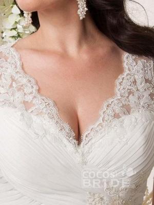 Plus Size Cap Sleeves Chiffon Lace Appliques Garden Aline Wedding Dress_4