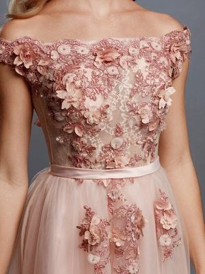 Off Shoulder 3D Floral  Tulle Aline Evening Dress Off Shoulder Party Dress_6