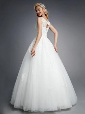 Robes de mariée élégantes sans manches col rond blanc Aline robe de mariée en dentelle florale_2