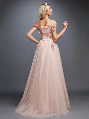 Off Shoulder 3D Floral  Tulle Aline Evening Dress Off Shoulder Party Dress_2