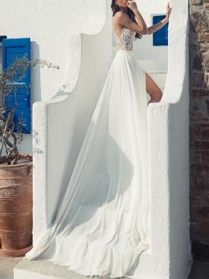 Halter Hollow Lace Side Slut Beach Wedding Dress_4