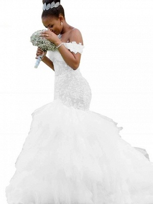 Bescheidene Meerjungfrau Brautkleider Schulterfrei Rüschen Tüll Spitze Brautkleid_2