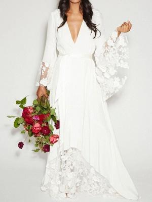 Ruffle Sleeves V-neck Aline Ho-lo Wedding Reception Dress_1
