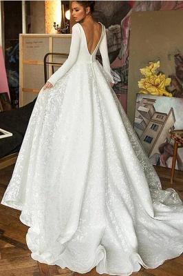 Elegant Lace Bridal A-line V-Neck Long Sleeves Wedding Dress_3