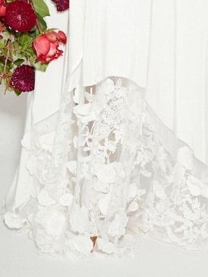 Ruffle Sleeves V-neck Aline Ho-lo Wedding Reception Dress_3