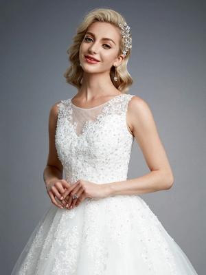 Robes de mariée élégantes sans manches col rond blanc Aline robe de mariée en dentelle florale_7