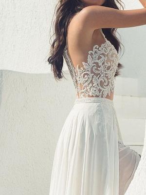 Halter Hollow Lace Side Slut Beach Wedding Dress_3