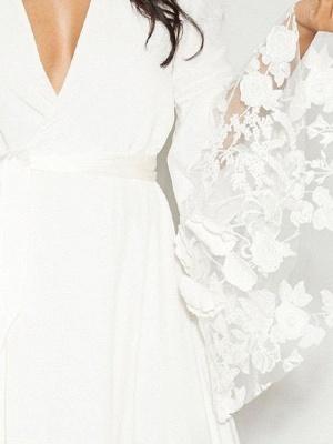 Ruffle Sleeves V-neck Aline Ho-lo Wedding Reception Dress_4