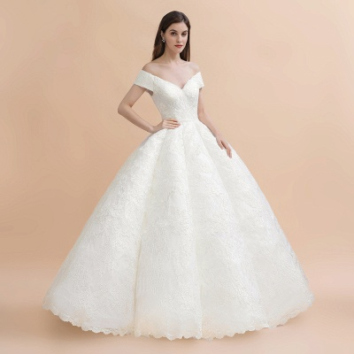 Ivory Off Shoulder Lace Appliques A-line Ball Gown Tulle Wedding Dress_5