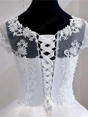 Flügelärmeln weiße Tüll-Spitze Applikationen Brautkleid Aline bodenlangen Brautkleid_5