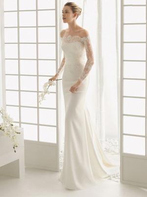 Elegantes Off Shoulder Spitze Meerjungfrau Brautkleid mit langen Ärmeln Schlankes Brautkleid_1