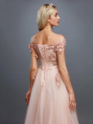 Off Shoulder 3D Floral  Tulle Aline Evening Dress Off Shoulder Party Dress_5