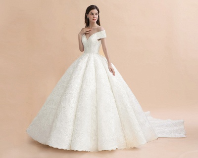 Charming Off-the-Shoulder Appliques Ball Gown Backless Sweep Train_2