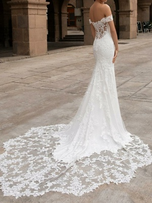 Robe de mariée sirène rêveuse à épaules dénudées Trumpt Train_2