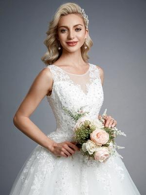 Robes de mariée élégantes sans manches col rond blanc Aline robe de mariée en dentelle florale_9