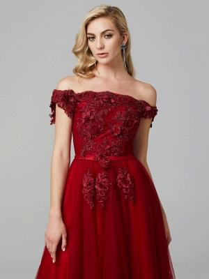 Off Shoulder 3D Floral  Tulle Aline Evening Dress Off Shoulder Party Dress_14