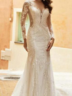 Elegant Long Sleeves Tulle Lace Mermaid Bridal Dress with Sweep/Trumpt Train_2