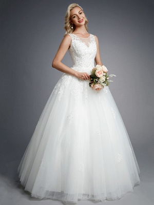 Robes de mariée élégantes sans manches col rond blanc Aline robe de mariée en dentelle florale_6