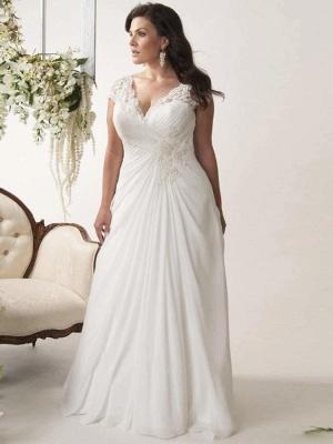 Plus Size Cap Sleeves Chiffon Lace Appliques Garden Aline Wedding Dress_1