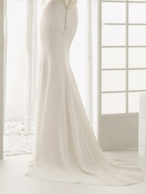 Elegantes Off Shoulder Spitze Meerjungfrau Brautkleid mit langen Ärmeln Schlankes Brautkleid_6