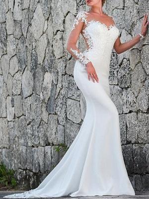 Charmantes weißes Meerjungfrau-Brautkleid mit langen Ärmeln Spitzenapplikationen Brautkleid_1