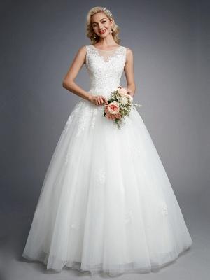 Robes de mariée élégantes sans manches col rond blanc Aline robe de mariée en dentelle florale_1