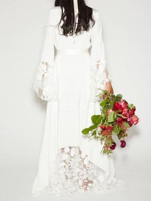 Ruffle Sleeves V-neck Aline Ho-lo Wedding Reception Dress_2