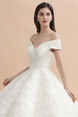Ivory Off Shoulder Lace Appliques A-line Ball Gown Tulle Wedding Dress_7