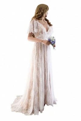 Lace Half Sleeves Boho Wedding Dress Chic Beach Bridal Gowns_1