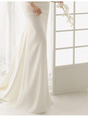 Elegantes Off Shoulder Spitze Meerjungfrau Brautkleid mit langen Ärmeln Schlankes Brautkleid_5