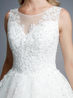 Robes de mariée élégantes sans manches col rond blanc Aline robe de mariée en dentelle florale_10