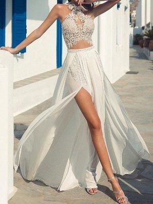 Halter Hollow Lace Side Slut Beach Wedding Dress_1