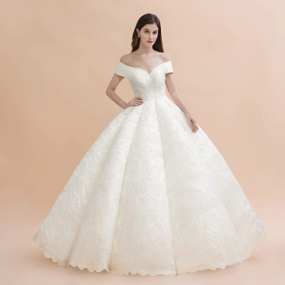 Ivory Off Shoulder Lace Appliques A-line Ball Gown Tulle Wedding Dress_2