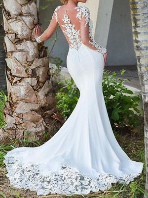 Charmantes weißes Meerjungfrau-Brautkleid mit langen Ärmeln Spitzenapplikationen Brautkleid_3