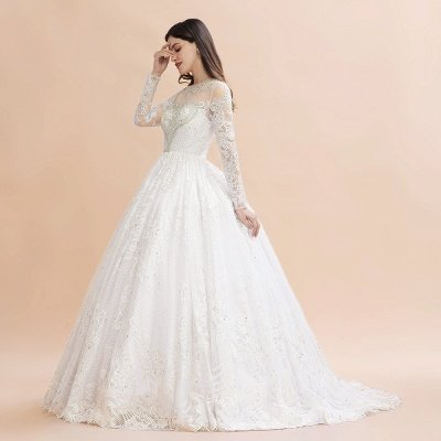 Elegant White Long Sleeve Tulle Lace Appliques Bridal Gowns_5